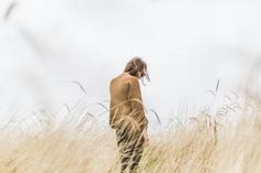 girl, alone, thinking, mountain, nature, grass, view, brown, model, clouds, people