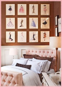 Design Chic - great gallery wall and love the tufted headboard
