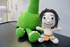 Crochet Amigurumi The Good Dinosaur Material: Soft cotton yarn stuffed with polyester fiber fill This item is made to order Dimension: Arlo 39cm; Spot 13cm This doll is handmade by myself from a design and pattern by Sabrina Crochet