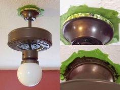 Painting fan base without removing from ceiling (Sophisticated Finishes paint) (brass parts) Painting Light Fixtures, Light Painting, Brass Ceiling Fan, Ceiling Lights, Painting Ceiling Fans, Paint Ceiling, Ceiling Fan Makeover, Chandelier Makeover, Painted Fan