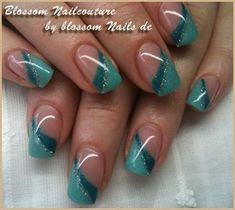french nails tips Faces Teal Nails, Metallic Nails, Green Nails, Colorful Nail Designs, Gel Nail Designs, French Nail Designs, French Nails, Nail Manicure, Nail Polish