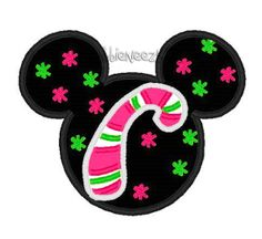 Candy Cane Mouse Embroidery Applique by NobbieNeezKidsWorld