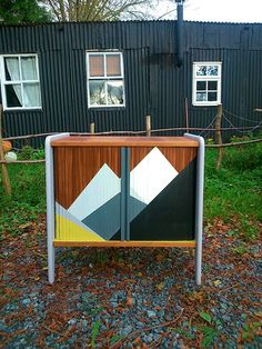 SOLD OUT, but please do message me if youd like something similar FREE UK MAINLAND SHIPPING Geometric painted Record Cabinet...debuting at