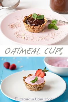 You just need a few ingredients to make these gluten-free oatmeal cups 🧁 They are sweet and can be enjoyed with different healthy fillings. Healthy Sweet Snacks, Healthy Brunch, Healthy Breakfast Recipes, Healthy Desserts, Brunch Recipes, Vegetarian Recipes, Snack Recipes, Healthy Eating, Healthy Recipes