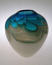 Oceana Acorn Vase by Jennifer Nauck (Art Glass Vase)