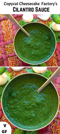 Copycat Cheesecake Factory's Cilantro Sauce: Holy Crap this is good. I am going to try it with less honey next time cause this was sweeter than it needs to be. Cheese Cake Factory, Cilantro Garlic Sauce, Cilantro Recipes, Vegan Burrito, Mango Avocado Salsa, Shrimp Tacos, Chimichurri, Copycat Recipes, Sauce Recipes