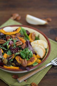 Roasted Fall Vegetables Salad with Maple Orange Cinnamon Dressing - - - > www.theroastedroot.net