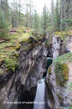 Looking towards the top part of the tallest waterfall showing some gorge context, Maligne Canyon Waterfalls, Jasper National Park, Alberta, Canada