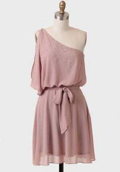 Dusty blush one-shoulder dress with beaded embellishments.