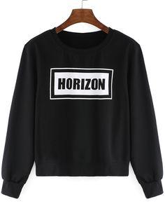 Round+Neck+Letters+Print+Crop+Black+T-Shirt+9.79