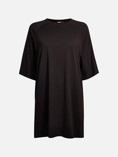 Oversized jersey topp med trekvart-lang erm. Toppen kan også brukes som en kjole. 100% bomull. Svart