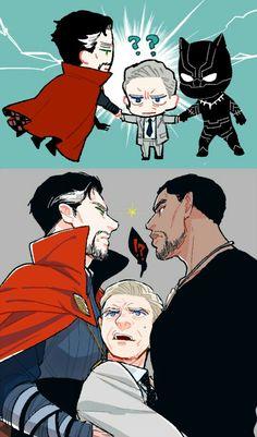 Dr.Strange , T'Challa and Everett Ross