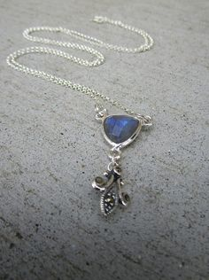 Triangle Labradorite Stone Long Sterling Silver Necklace