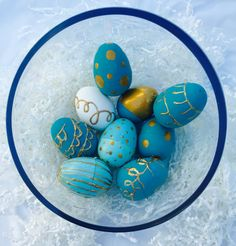 My Hand Painted Eggs for Easter 2016. Teal & Gold eggs