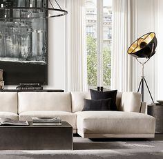 RH Partners With Portia de Rossi's General Public on Art Collection Living Room Modern, Living Room Interior, Living Room Designs, Living Room Decor, Living Rooms, Living Spaces, Black And White Living Room, Living Room Grey, Living Area