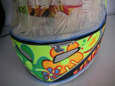 Repair on a customer's helmet (before and after images) ~ Hand Painted Helmets - Design your helmet today. Helmet Paint, Helmet Design, Helmets, Lunch Box, Hand Painted, Painting, Image, Painting Art, Hard Hats