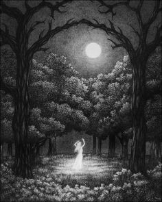 Women In Art History — Luthien, Derek O'Brien Luthien, Illustration Art, Illustrations, Arte Obscura, Witch Art, Moon Goddess, Moon Art, Tolkien, Dark Art
