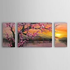Hand Painted Oil Painting Floral Set of 3 with Stretched Frame 1307-FL0156 - WallArtBox