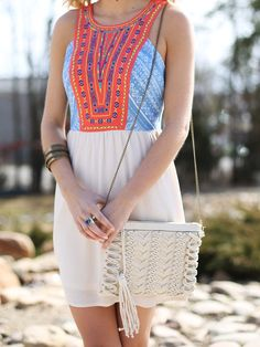 Altar'd State Crochet and Tassel Crossbody Handbag