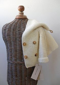 Hand knitted Handmade Baby Wool Sweater Coat by LittleBeauxSheep, $70.00