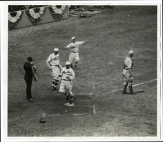 Louis Cardinal Ray Blades Crossing home plate on Charlie Gelbert's single, inning, game four of 1930 World Series. Photograph by unknown, Missouri History Museum Photograph and Prints Collections. Cardinals Players, Cardinals Baseball, St Louis Cardinals, Philadelphia Athletics, St Louis Baseball, See Games, Mlb Teams, American League, Best Player