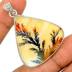 Scenic-Dendritic-Agate-925-Sterling-Silver-Pendant-Jewelry-SP196394