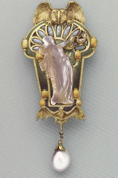 """""""Night"""" pendant-brooch @ 1899 by Philippe Wolfers.  Gold, enamel, opal, pearl, and cast glass"""