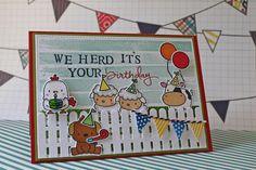 Carla's scrappy tales Birthday card using Mama elephant lunar animals stamps