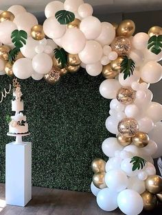 Balloon Garland Arch Kit, White Gold Confetti Balloons 101 PCS, Artificial Palm Leaves 6 PCS, Balloons for Parties, Party Wedding Birthday Balloons Decorations Shower Party, Baby Shower Parties, Baby Shower Themes, Baby Shower Decorations, White Party Decorations, Party Decoration Ideas, Backyard Party Decorations, Wedding Decorations, Shower Ideas