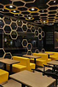 Sweet Cuisine Restaurant in Guangzhou, China: Fancy Playful Honeycomb Rice Home Interior Stylish Furniture