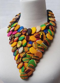 Ankara Button Necklace/ African Necklace / African Print