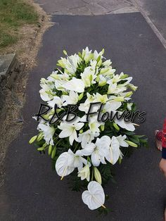 5 Foot coffin spray created by R&B Flowers