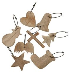 You can buy wooden shapes and cut outs at Michael's. They're cheap. Drill a small hole in the top, maybe stain (or paint) them, and you have ornaments!