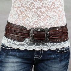 """Roper 3"""" Brown Floral Embossed Hip Belt"""