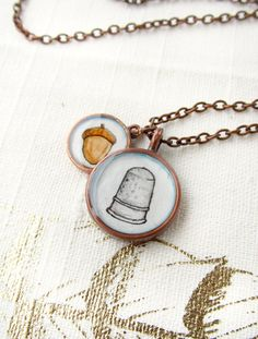 Peter Pan and Wendy's Kisses -- Hand Painted Charm Necklace, Acorn and Thimble, Copper.
