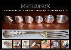 Anéis feitos com garfos de prata