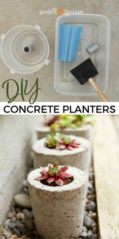 These DIY concrete planters are simple to make in just a weekend and with materials you may already have around the house. They look modern with unique shapes that come straight from the recycling bin! Grab just a few supplies and let's make concrete garden pots! #gardentherapy #concreteplanters #diy #planters #crafts #outdoorcrafts Diy Concrete Planters, Concrete Garden, Diy Planters, Outdoor Crafts, Recycling Bins, Mold Making, Garden Projects, Garden Pots, Therapy
