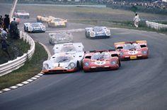 1970s | The fierce battle between Ferrari 512 and Porsche 517 |  The Ferrari 512M of Mario Andretti & Ignazio Giunti battling it out with the Gulf Porsche 917K of Jo Siffert & Brian Redman at the 1970 Watkins Glen 6 Hours