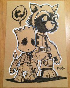 "1,887 To se mi líbí, 15 komentářů – Craig Bruyn (@craig_bruyn) na Instagramu: ""Lil Groot a5 sketch card - - - - - #sketch #card #original #art #comics #comicart #fanart…"" Cartoon Sketches, Cartoon Styles, Cartoon Art, Drawing Sketches, Marvel Drawings, Cool Drawings, Character Art, Character Design, Marvel Tattoos"