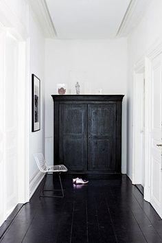 black floors | white walls