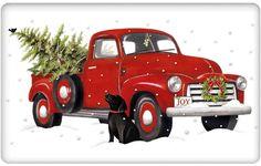 Black Labrador Retriever and Vintage Red Truck Christmas 100% Cotton Flour Sack Dish Towel Tea Towel