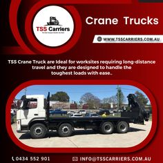 Need something lifted or Moved? TSS Carriers can transport anything and anywhere, crane trucks used in all areas of industry. A crane truck being an independent vehicle, the driver can drive on any road to reach the site of work. However, a crane truck can perform multiple tasks. We work to become the first choice for our customer's transportation and crane truck services. Feel free to contact: 0434 552 901 visit us: #cranetruck, #cranetrucks, #cranetruckssydney, #cranetruckinsydney, Truck Mounted Crane, Transportation Services, Cool Trucks, Peace Of Mind, Long Distance, Sydney, Vehicle, Australia, Free