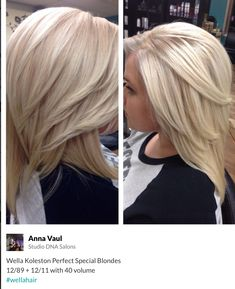 Inspiration by Anna Vaul from Studio DNA Salons . Wella Koleston Perfect Special Blondes + with 40 volumeBeautiful icy blonde creates with Wella Professionals Special Blonde series. Icy Blonde, Brown Blonde Hair, Platinum Blonde Hair, Blonde Color, Blonde Balayage, Dark Hair, Wella Koleston Perfect, Medium Hair Styles, Long Hair Styles