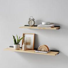 Pottery Barn Bookcase, Pottery Barn Teen, Bookshelf Inspiration, Inspiration Wall, Wood Wall Shelf, Wall Shelves, Bedroom Shelves, Modern Room, Modern Wall