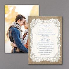 Burlap Glam - Photo Invitation - Silver. Available at Persnickety Invitation Studio.
