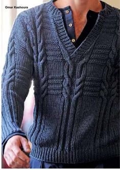 from Maglieria Italiana - 173 Sueter para o vovo! Aran Sweaters, Hand Knitted Sweaters, Sweater Knitting Patterns, Knitting Stitches, Knitting Designs, Knit Patterns, Hand Knitting, Mens Knit Sweater Pattern, Gents Sweater