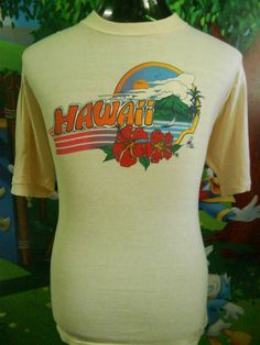 Vintage 70s hawaii tshirt thrashed original surfer good for Hawaiian graphic t shirts