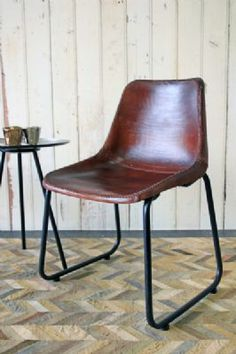 Industrial Leather Dining Chair - Dark Mahogany