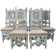 Set of Ten 19th Century Painted Carved Italian Dining Chairs