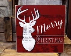 Merry Christmas Reindeer Vintage distressed Wood Sign or Printed Wood or Canvas Wall Art for the Holidays Christmas Decor
